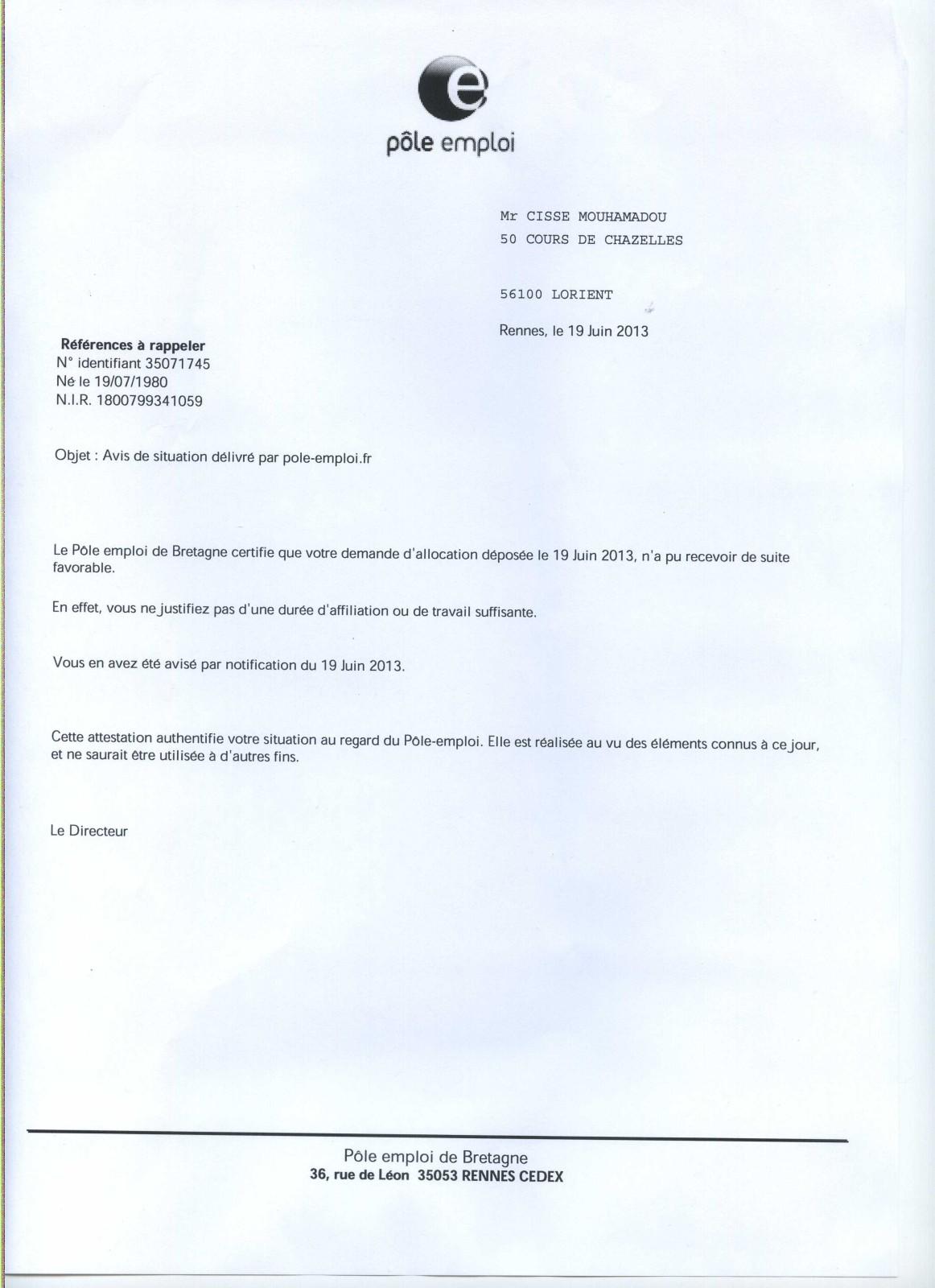 comment remplir l u0026 39 attestation pole emploi